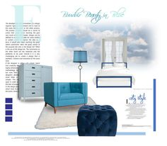 """""""Boudoir Blues"""" by michelletheaflack ❤ liked on Polyvore featuring interior, interiors, interior design, home, home decor, interior decorating, Martha Stewart, nuLOOM, Crate and Barrel and Thom Filicia"""