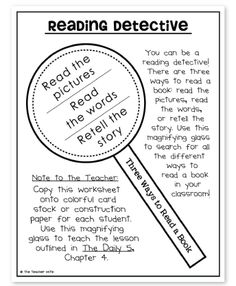 "the teacher wife: daily 5 freebies, including a cute magnifying glass ""reading detective"" bookmark that goes over the 3 ways to read a book"