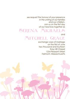 Butterfly Wedding Invitations: Pink and Yellow Invitation Template Kit