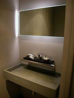contemporary powder room trough design vessel