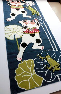 japanese fabric cotton Tenugui Manekineko by japanmomijidesigns, $19.50
