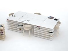 Mathieu Lehanneur has combined two typologies to create a new one in Strates, an office desk and shelving in one.
