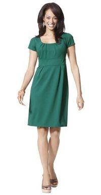 Merona® Womens Scoopneck Ponte Dress w/Pleats - Assorted Colors;     to top up with a brooch