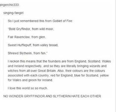 Harry Potter and England, Scotland, Wales, and Ireland