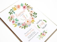 Birthday Invitations Party Invitations Rustic Wreath Floral