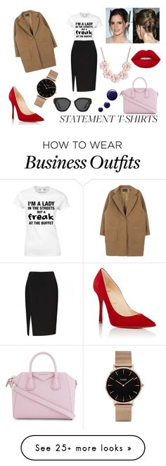 """""""Work Wear: Statement T-Shirts"""" by eduarda-farias on Polyvore featuring Givenchy, Christian Louboutin, J.Crew, Emma Watson, Topshop, Prada, CLUSE, WorkWear, red and oversizedcoats"""