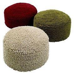 cotton chenille shaggy ottoman; linen color