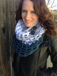 Chunky Grey White Dark Blue Crochet Cowl Two by STITCHandCABOODLE, $34.00