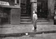 """October 1909. Boston, Massachusetts. """"Fire - Fire - I want to make the fire. An Italian boy on Salem Street Saturday morning, offering to make fires for Jewish People."""""""
