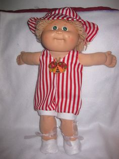 Cabbage Patch doll clothes/red & white striped cotton sunsuit/matching sunhat