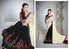 Fashion and style always depends on good color and fantastic combination of shades and so we create best shades to enhance your beauty and personality. Looking amazing with attachment of black and off white chiffon georgette designer saree. The embroidered, lace work personifies the entire appearance. Comes with matching blouse. (slight variation in color, fabric & work is possible. Model images are only representative.) #PartywearSareesBoutiqueCanada