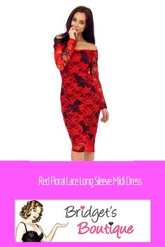 Red Floral Lace Long Sleeve Midi Dress 3bce15d43