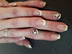 Summer naildesign. yellow french with Flowers