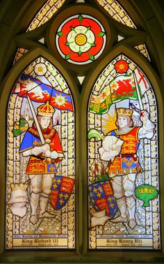 Stained glass showing Richard III and Henry VII, St. James Church, Sutton Cheney.