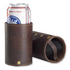 Orvis leather beer/beverage cozy/koozie $29