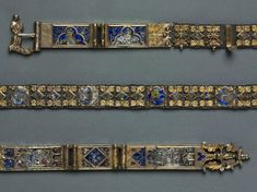 Belt for a Lady's Dress, Siena, Italy. Courtesy of the Cleveland Museum of Art. Renaissance Jewelry, Medieval Jewelry, Medieval Clothing, Ancient Jewelry, Enamel Jewelry, Jewelry Findings, Antique Jewelry, Jewellery, Medieval Belt