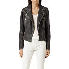 Buy AllSaints Leather Cargo Biker Jacket, Black/Grey Online at johnlewis.com