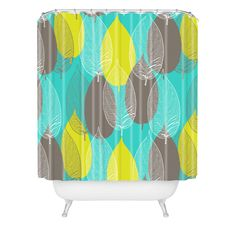 Aimee St Hill Big Leaves Blue Shower Curtain | DENY Designs Home Accessories