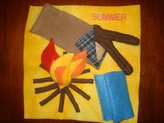 Cute camping quiet book page with s'more supplies