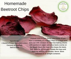 Have you tried making your own beetroot chips? These make a great crunchy snack and are a healthy alternative to potato crisps as they are a excellent source of B vitamins, antioxidants, and potassium. Perfect for the grain-free diets.