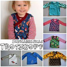 "Trotzkopf ""Wraparound Shirt"" Pattern Hack/Tutorial using the free pattern of Schnabelina's Welt. Sewing Patterns For Kids, Sewing For Kids, Baby Sewing, Clothes Patterns, Free Sewing, Baby Girl Dress Patterns, Baby Patterns, Sewing Kids Clothes, Diy Clothes"