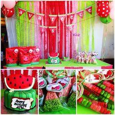 Rynette P's Birthday / Watermelon - Ava Reece is at Catch My Party Watermelon Birthday Parties, Fruit Birthday, Fruit Party, Summer Birthday, Birthday Fun, First Birthday Parties, Birthday Party Themes, First Birthdays, Birthday Ideas