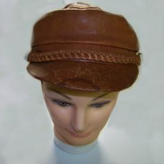 Leather 70s newsboy cap brown hippie rebel hat large by pinehaven2, $24.50