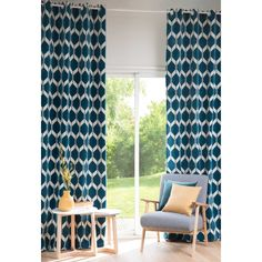 ASTON peacock blue patterned curtain ...