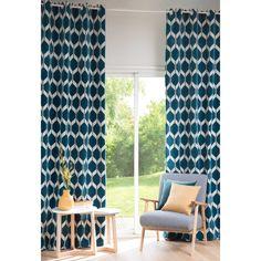 Rideau motifs bleu canard 140x300 | Maisons du Monde