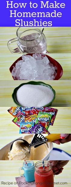 Homemade Slushies with Ice Cream - Dessert Eis - Haar Kid Drinks, Frozen Drinks, Frozen Desserts, Frozen Treats, Beverages, Party Drinks, Frozen Cookies, Frozen Cake, Frozen Fruit