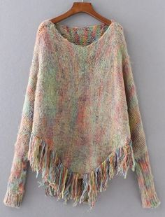 Fashion Heathered Mohair Sweater Cloak with Tassels