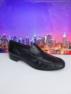 Mens shoes VTG NETTLETON blk soft leather calfskin ITALY Mad Men loafer sz 8.5 M #Nettleton #LoafersSlipOns
