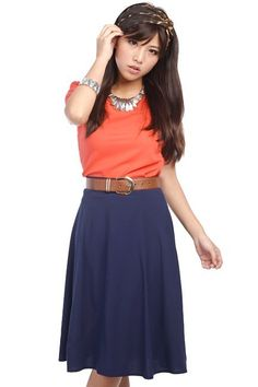 midi navy blue skirt - I wish I could find a skirt or dress this length