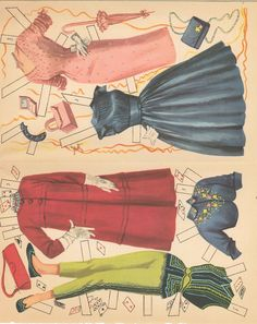 HD Laser Reproduction~ Just gorgeous Graphics! This reproduction is from our original uncut book. Paper Dolls Clothing, Barbie Paper Dolls, Paper Dolls Book, Vintage Paper Dolls, Doll Clothes, Free Printable Art, Paper Dolls Printable, Cardboard Box Crafts, Paper Crafts