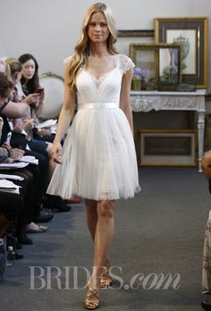 """Brides.com: Watters - Fall 2013. """"Spruce"""" knee-length wedding dress with v-neckline and lace cap sleeves, Watters"""
