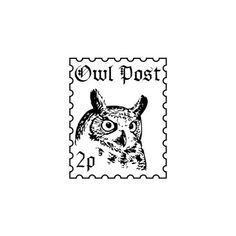 Harry Potter owl post faux postage stamp rubber stamp by terbearco