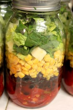 Chopped Southwestern Black Bean and Corn Mason Jar Salads
