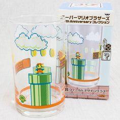 Super Mario Bros. Field Design Glass 30th Anniversary JAPAN GAME FAMICOM #Banpresto