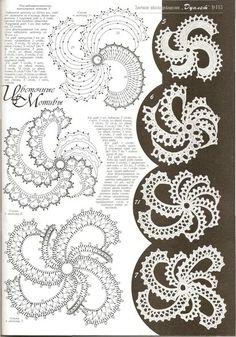"Photo from album ""Дуплет on Yandex. Irish Crochet Charts, Irish Crochet Patterns, Crochet Designs, Crochet Stitches, Crochet Flowers, Crochet Doilies, Russian Crochet, Paper Embroidery, Embroidery Dress"