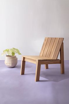 Shown in teak alongside Vayu Planter by Light + Ladder. Zen Furniture, Outdoor Wood Furniture, Pallet Furniture Designs, Outdoor Garden Furniture, Diy Furniture Plans, Pallet Chair, Wood Arm Chair, Diy Chair, Wood Patio Chairs