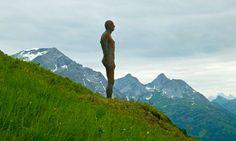 One of the 100 figures in Antony Gormley's Horizon Field installation in the Austrian Alps.