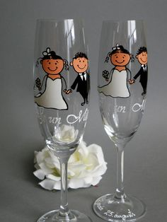 Hand painted Wedding Toasting Flutes Set of 2 Personalized Champagne glasses Wedding Cerenomy Bride and Groom Together. $49.00, via Etsy.
