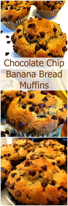 Our Chocolate Chip Banana Bread Muffins are deliciously soft and moist, with chewy golden brown tops, and full of chocolaty goodness!