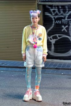 "tokyo-fashion: "" 19-year-old Kanata on the street in Harajuku tonight. He's wearing a tiara, a Milklim sweatshirt (he works at the new Milklim Harajuku boutique), cute necklaces, sheer shorts, Spank!..."