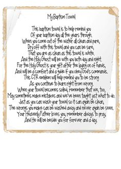 baptism towel poem