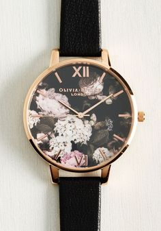 Half Past Bloom Watch in Rose Gold by Olivia Burton - Black, Floral, Work, Casual, Fall, Exceptional, Rose Gold, Leather, Metal