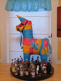 Adult Pinata with plastic bottles of booze inside!