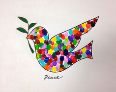 """Made this classroom project for our school auction. Each child (preschool) chose a color and printed several times (6-8) within the penciled outline of the dove. Afterwards, I outlined the dove & the branch in black Sharpie and added """"Peace"""" underneath. Everyone loved it!!:"""