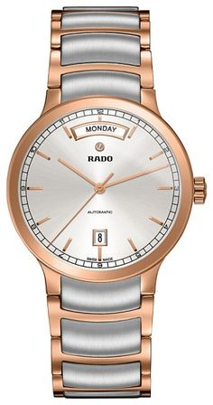 Rado Men's Swiss Automatic Centrix Rose Gold-Tone Pvd and Stainless Steel Bracelet Watch Fine Watches, Cool Watches, Watches For Men, Luxury Watches, Rolex Watches, Rado, Mens Gift Sets, Stainless Steel Bracelet, Bracelets For Men