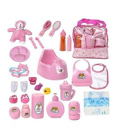 Another great find on #zulily! Diaper Bag & Bottle Feeding Toy Set #zulilyfinds